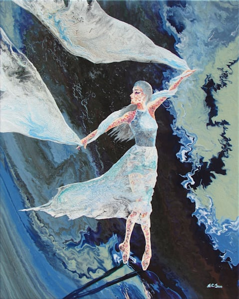 Original Abstract Ballerina Art - Four Seasons (iv) - Winter