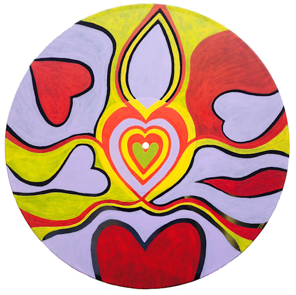 Flowing Love acrylic painting on record vinyl.