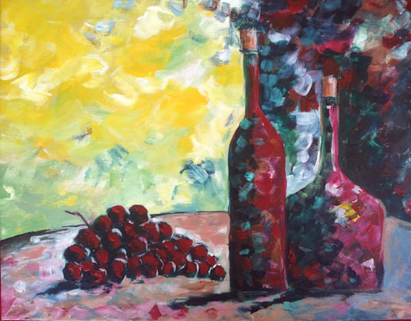 Wine Bottles and Grapes Original Painting