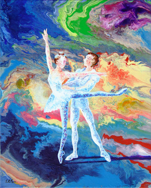 Abstract Art Of Duet Ballerina - Summer Story (iii)