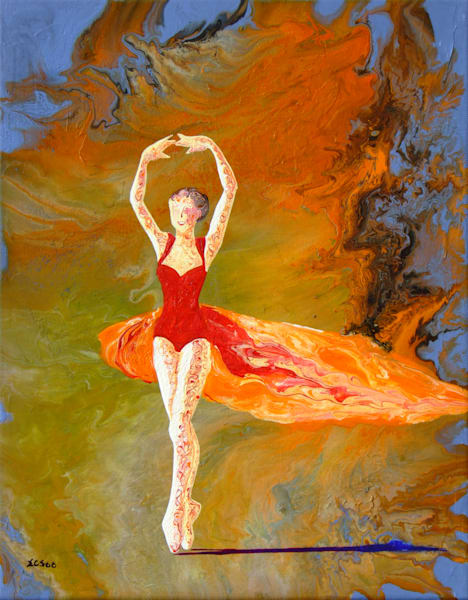 Abstract Ballerina Art, Firebird, Acrylic Painting for Sale