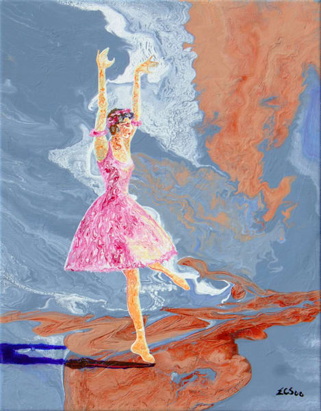 Abstract Ballerina Art, Qiu-hong-man-dy, Color of Autumn