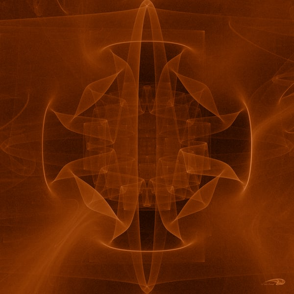 Sheer Origami Orange abstract gyroscope digital art by Cheri Freund
