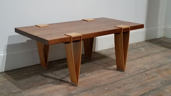 Architect Table, Fine Wood Table Made With Walnut, Hickory and Padauk, By Woodworking Artist Lucas Strack.