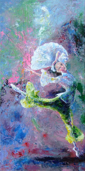 Original Abstract Ballerina Art, Jasmine Dance, Original Painting for Sale