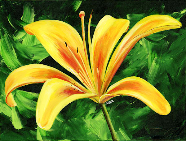 Vibrant Yellow Day Lily close-up acrylic painting by artist Mary Anne Hjelmfelt.