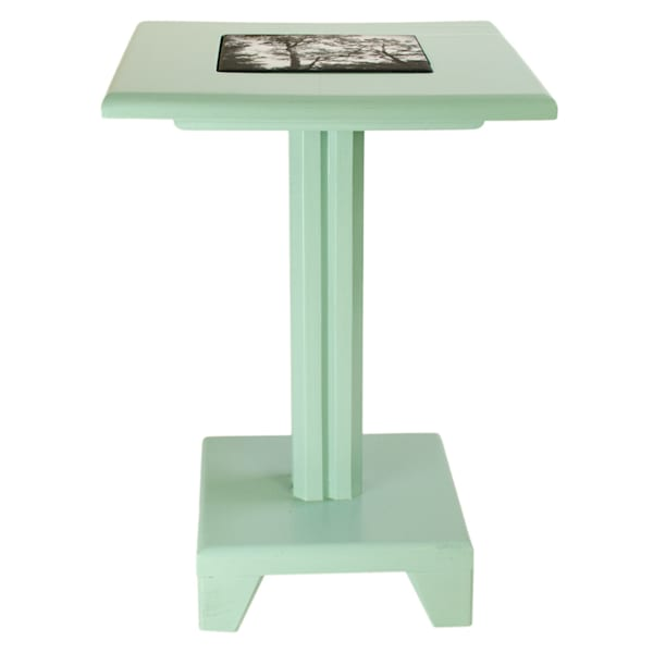 Aquamarine Painted Cocktail Table with removable tile inlay