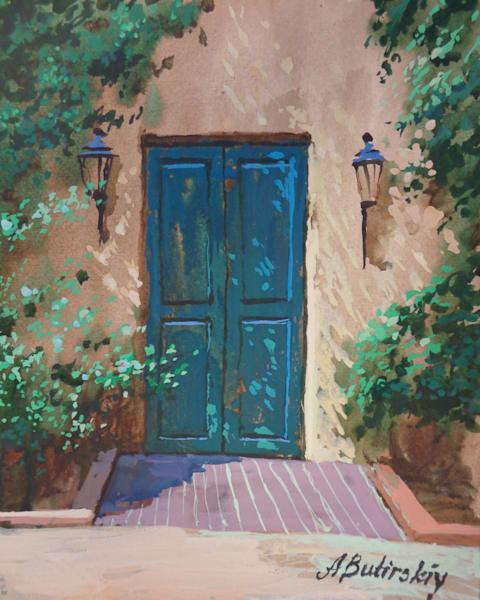 New Mexico Painting by Alexei Butirskiy | Santa Fe Door #2