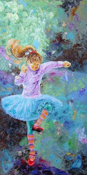 Semi-abstract Child Tap Dancer Art - Tapping Toes, Original Art for Sale