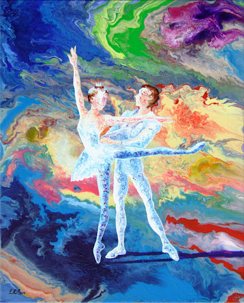 Abstract Duet Ballerina Art - Summer Story (iii), Original Art for Sale