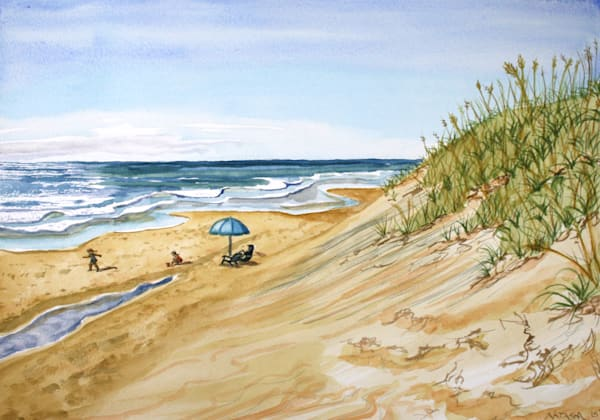 Beach Play Watercolor for Sale