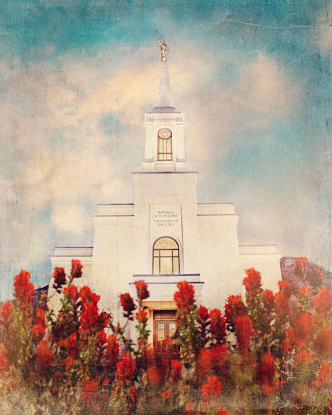 Star Valley Wyoming Temple with Indian Paintbrush