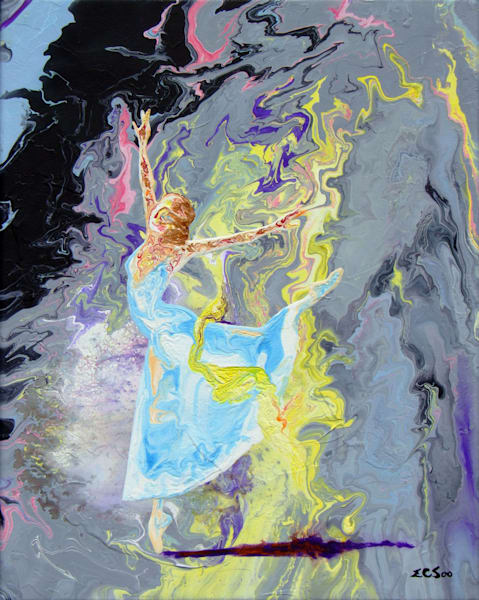 Abstract Ballerina Art, Meadow Mist - Original Painting for Sale