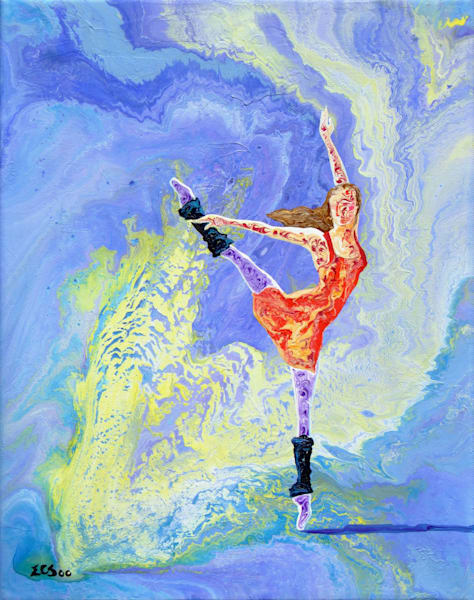 Abstract Ballerina Art, Routine Workout - Original Painting for Sale