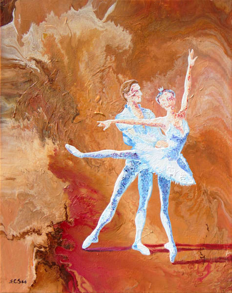 Abstract Ballerina Painting, Love Story - Original Art for Sale