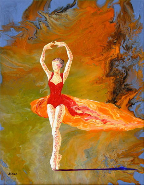 Abstract Ballerina Art, Firebird, Original Painting for Sale