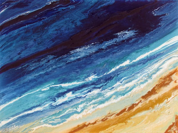 Abstract Blue Ocean Art, Wave #10, Original Painting for Sale