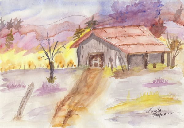 Old Barn in the Desert art by Gayela's Premiere Watercolor|Main Store