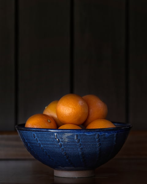 Ten Oranges in a Blue Bowl Lo Key