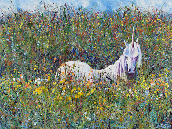 Abstract Art of Unicorn, Haven, Original Painting for Sale