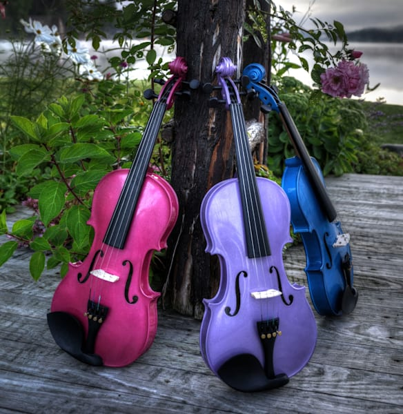 Vibrant Violin Trio Art by instrumentalart
