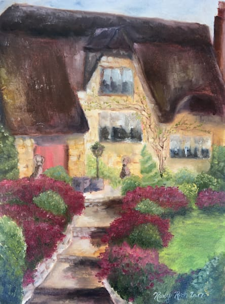 Thatched Cottage Original Oil Painting by Roxy Rich