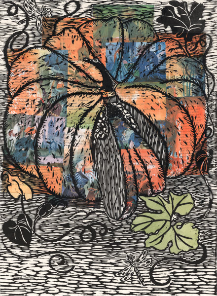 original woodcut print of a storybook pumpkin, with collage by Ouida Touchon