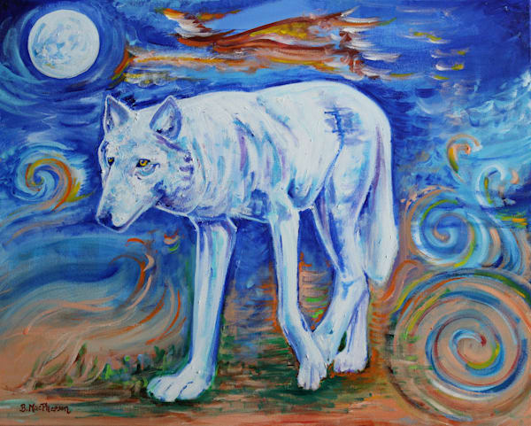 Spirit Walker - Original Wolf Painting for Sale