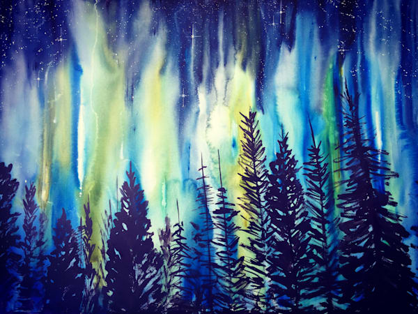 Night Forest Aurora Borealis Art | Amy Tigner Art