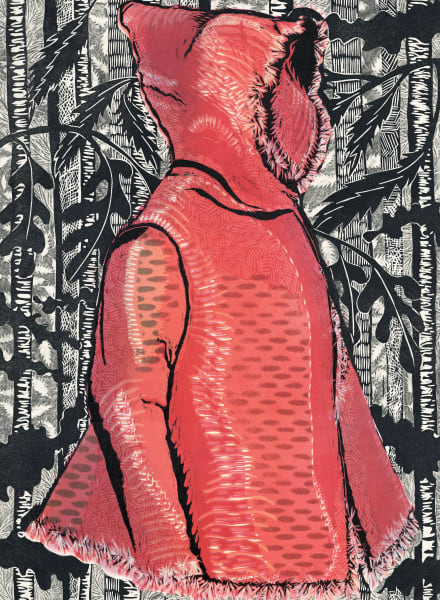 Lil Red in the Black Forest, woodcut reduction print for sale
