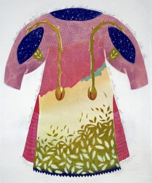 Women Dreamings 2, woodcut print kimono style, by Ouida Touchon, for sale