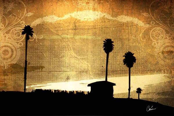 Corina Bakke's beach cityscape featuring gold