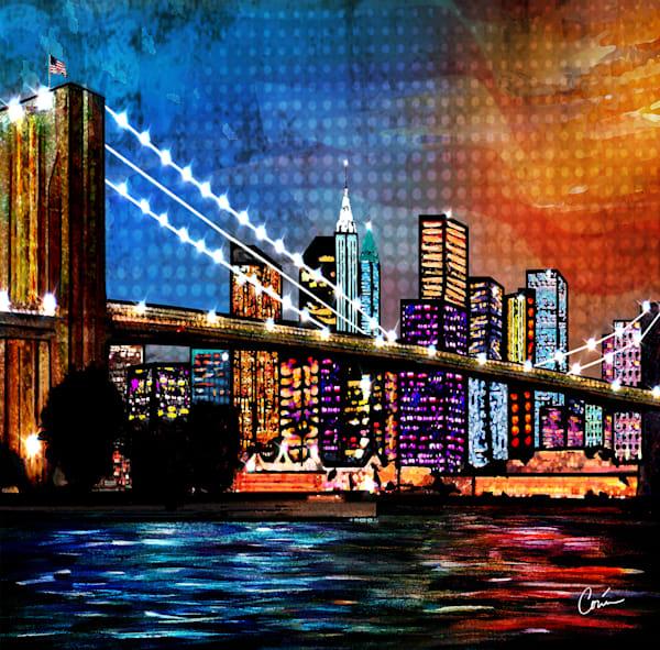 Cityscape Brooklyn Bridge skyline, bright colors by Artist Corina Bakke
