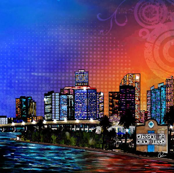 Miami Cityscape by Artist Corina Bakke.