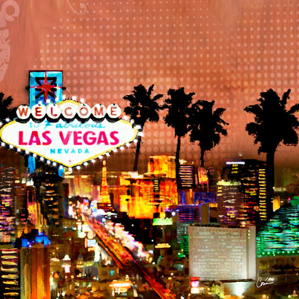 Bright and colorful rendition of the Las Vegas Skyline.