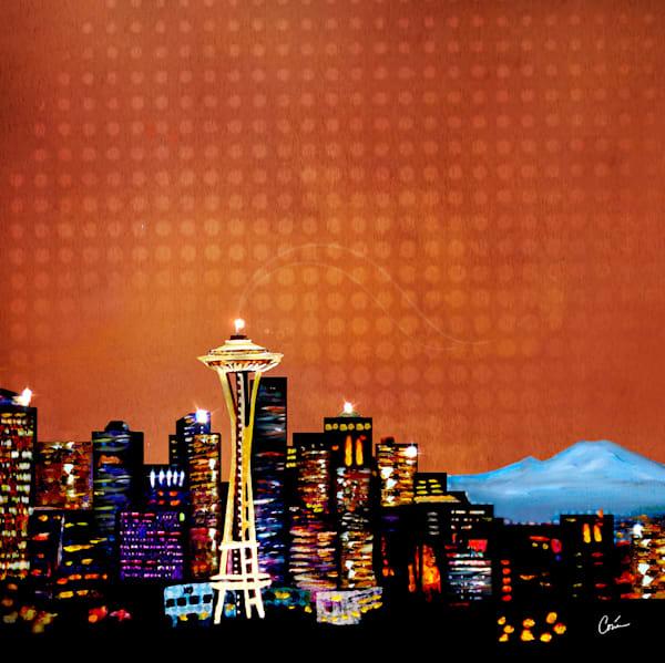 Cityscape Seattle Skyline Orange by Artist Corina Bakke