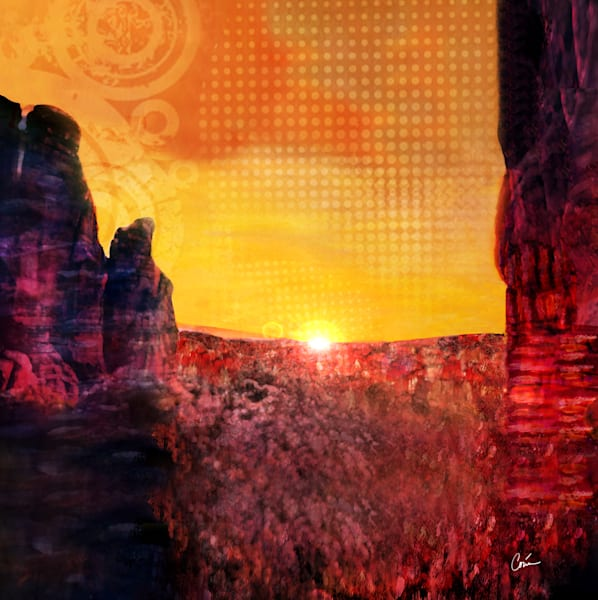 Cityscape of Arizona Sedona Skyline in sunset colors