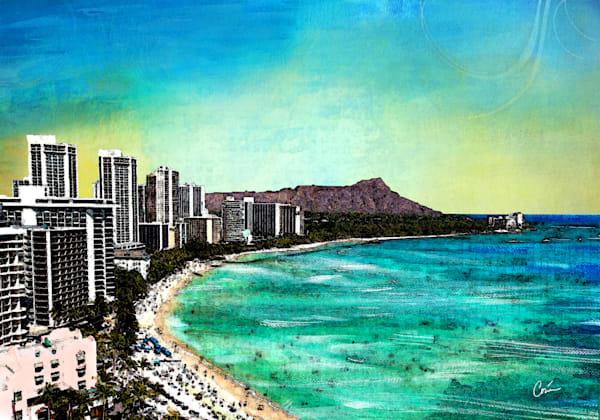 Oahu Cityscape Skyline of Waikiki, Diamond Head
