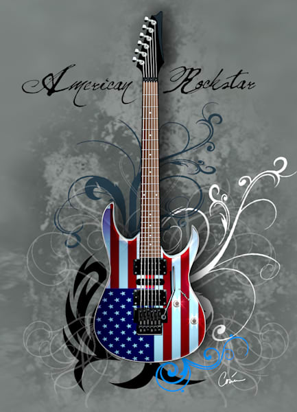 Grey American Rockstar Guitar Vertical