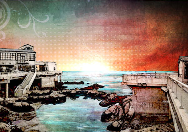 Monterey Bay Cityscape in Orange