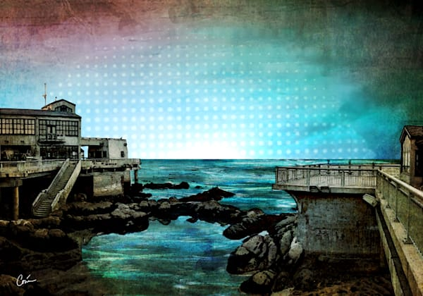 Cityscape of Monterey Bay in Blue