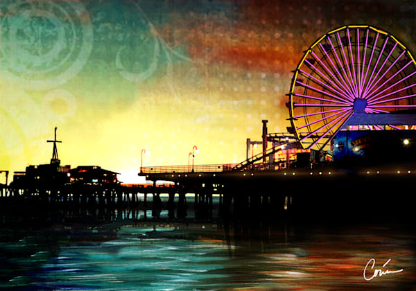 Colorful sunset depicting the Santa Monica Pier