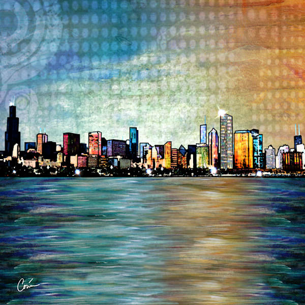 Blue Cityscape of the Chicago Skyline