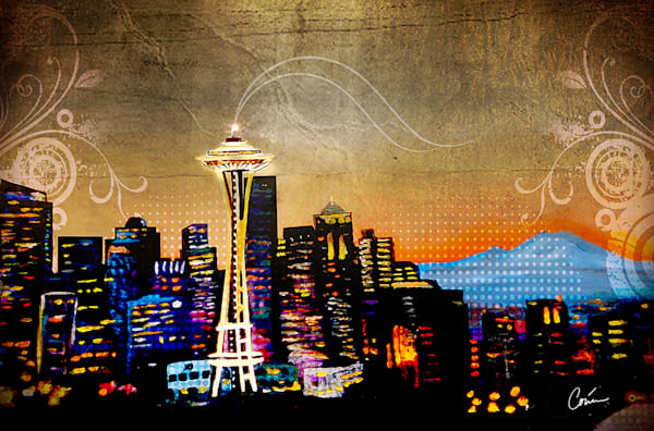 Cityscape of a Grunge Seattle Skyline