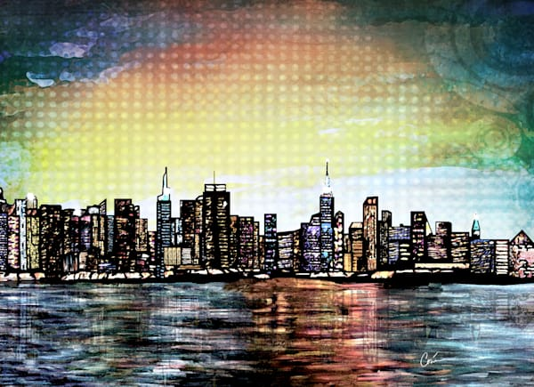 Cityscape of beautiful New York City in pale colors perfect for your home.