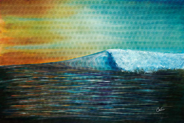Maui wave with texture in teal