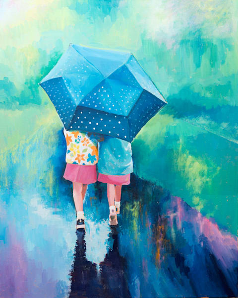 Art Print Children In The Rain