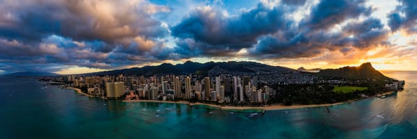Hawaii Aerial Photography | Waikiki Sunrise Flight by Leighton Lum