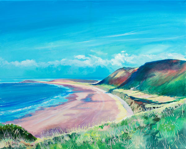 Rhossili Bay Art Print Denise Di Battista