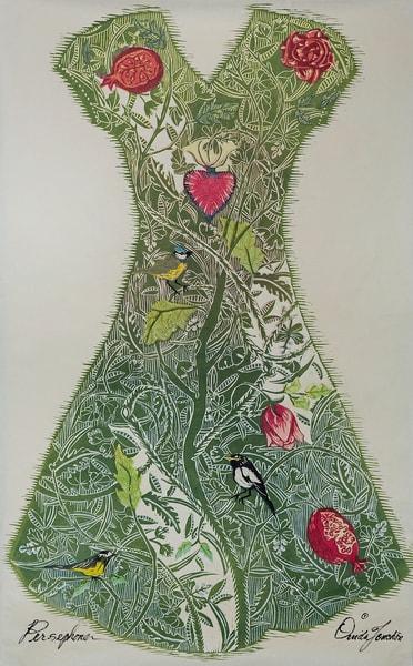 Persephone's dress, a woodcut original or fine art print by Ouida Touchon